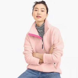 Like new J. Crew fuzzy pale pink fleece sweater